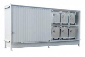 Regalcontainer mit integrierter Auffangwanne